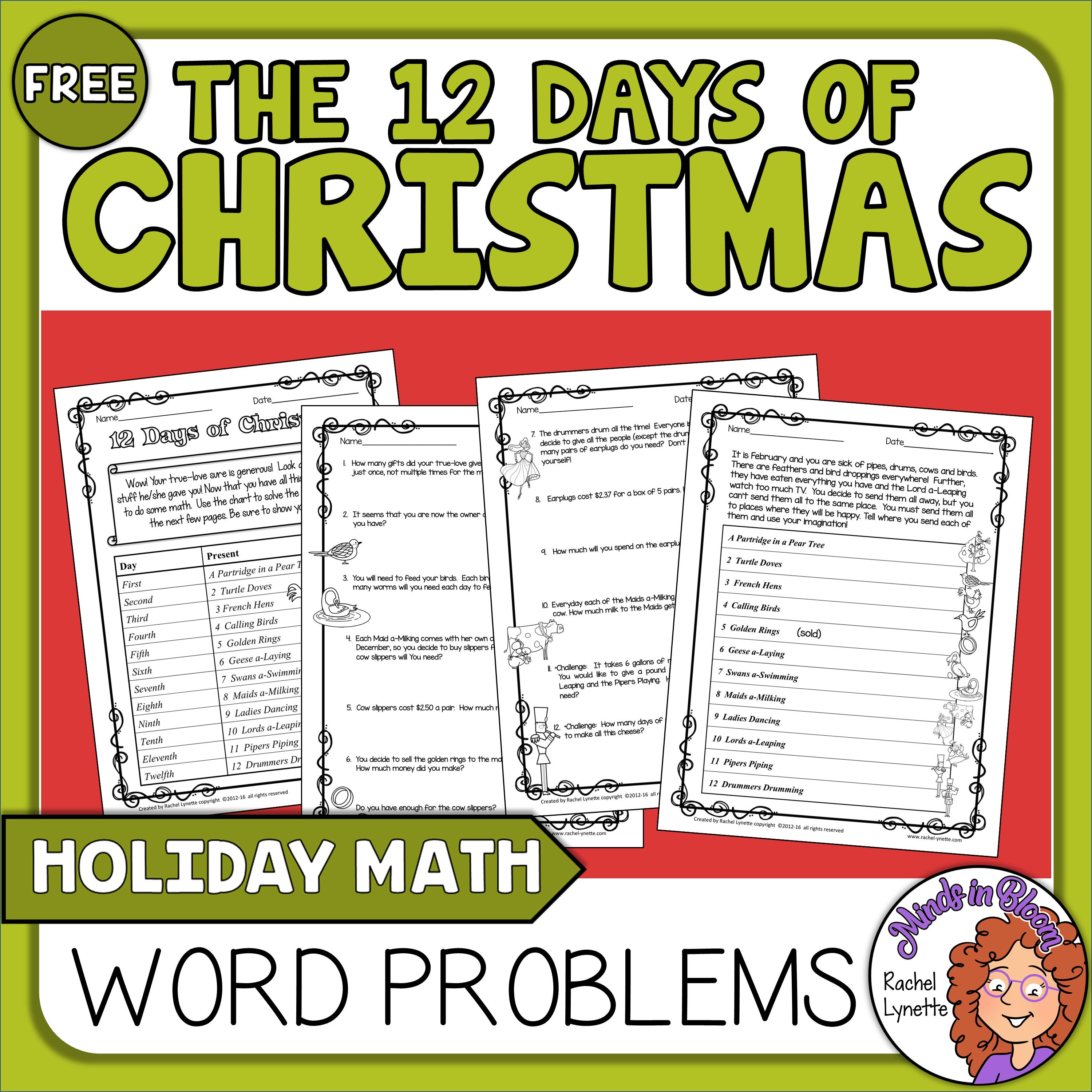 12 Days of Christmas Math Word  Problems  FREE! Image