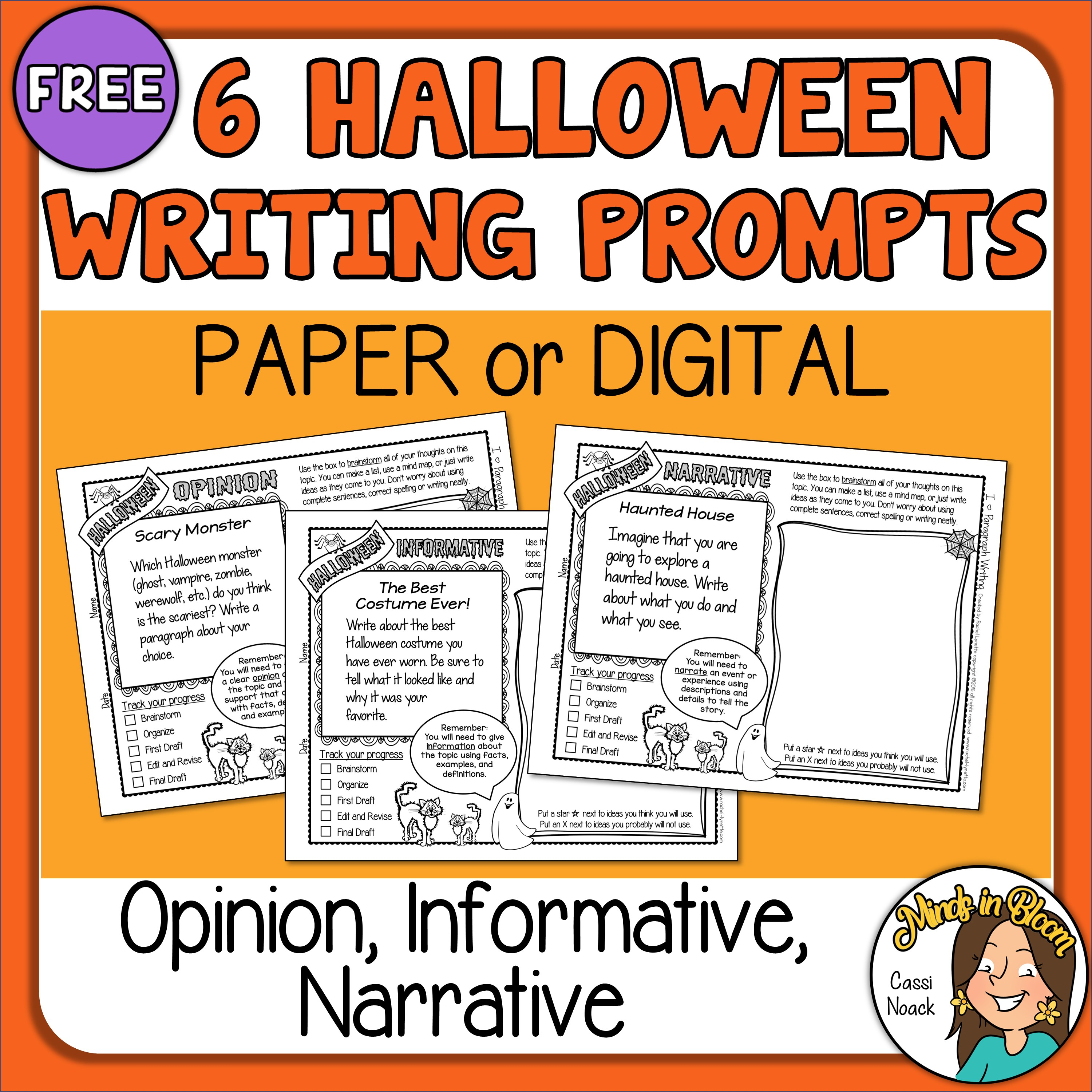 Halloween Writing Prompts - FREE! Image
