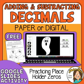 FREE Halloween Math Adding and Subtracting Decimals Google Digital or Print Image