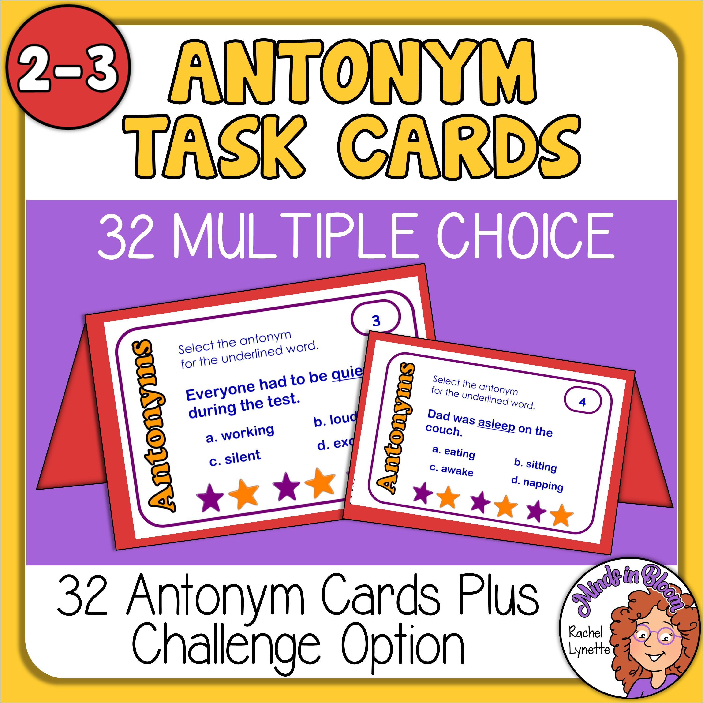 Antonym Task Cards: Free for Grades 2-3 Image