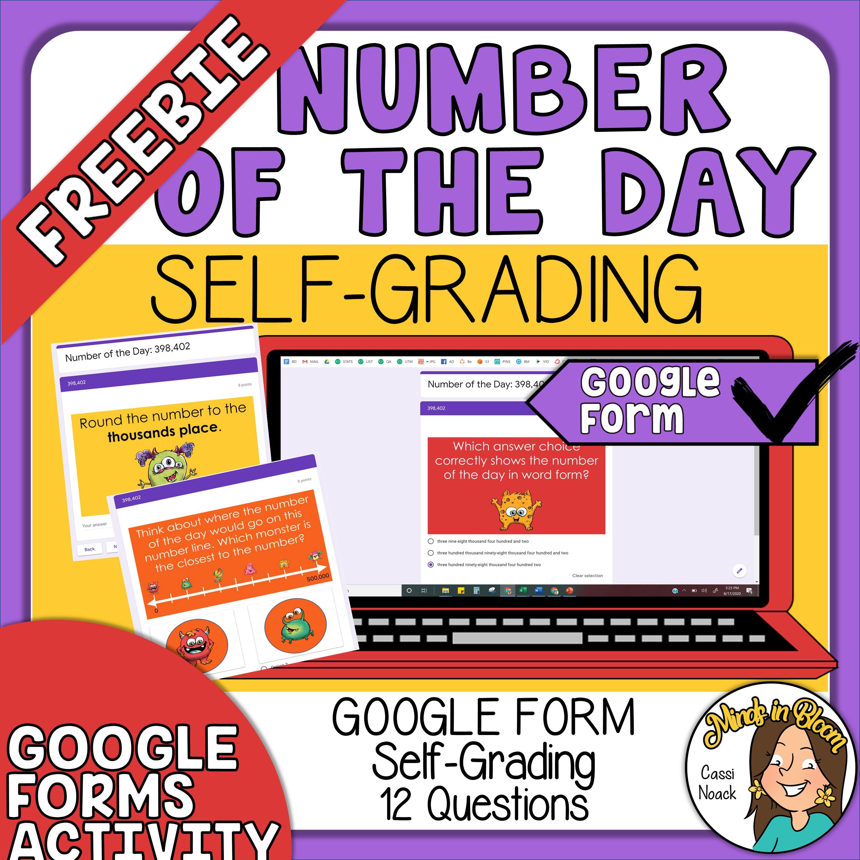 FREEBIE - Digital Number of the Day - Self Grading Google Form Image