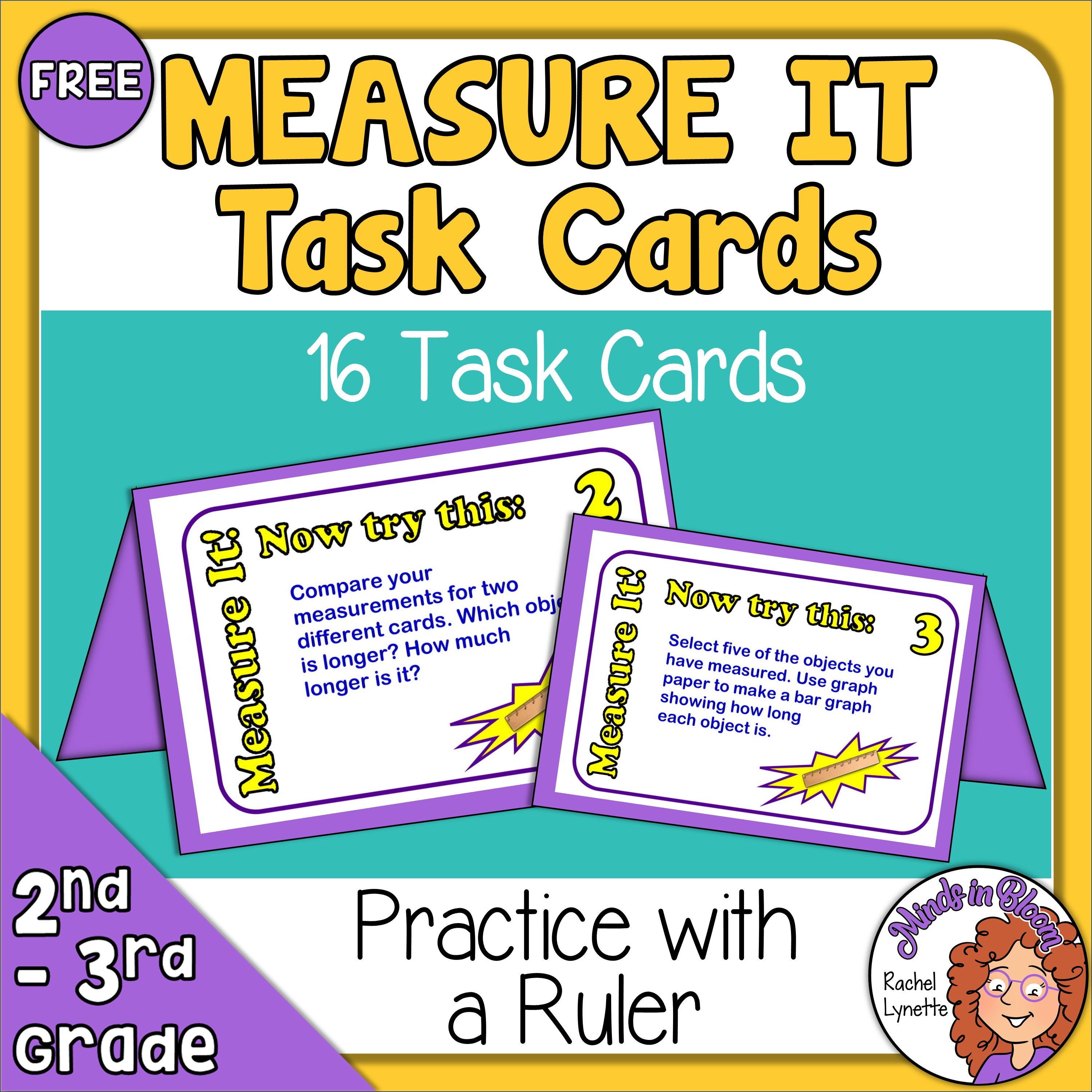 FREE Measure It! Task Cards for Grades 2-3 FREE Image