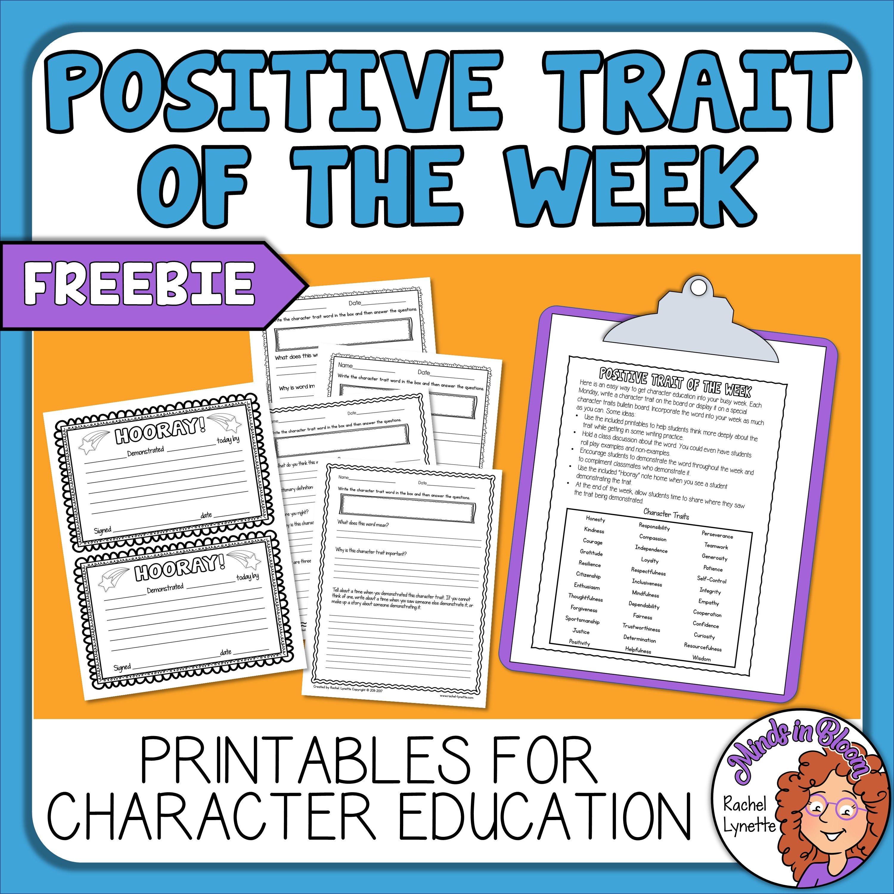 Character Traits - Print or TpT Digital Activity for Character Education Image