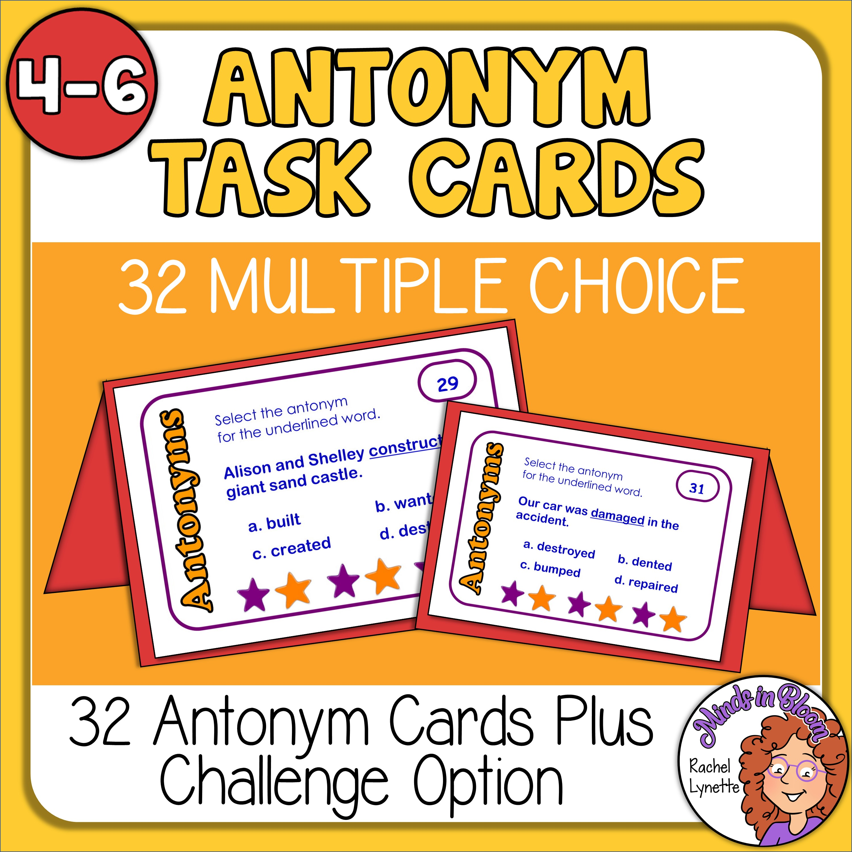Antonym Task Cards Free for Grades 4-6! Image