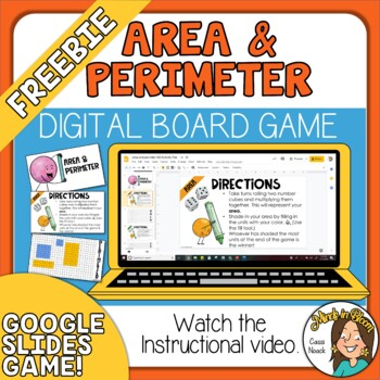 FREEBIE Area and Perimeter Digital Board Game Distance Learning Activity Slides Image