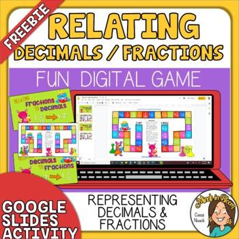 FREE Relating Fractions to Decimals Digital Board Game - Google Slides Image