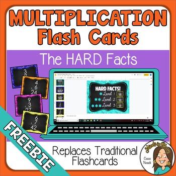 FREEBIE Google Slides Digital Multiplication Flash Cards Distance Learning Image