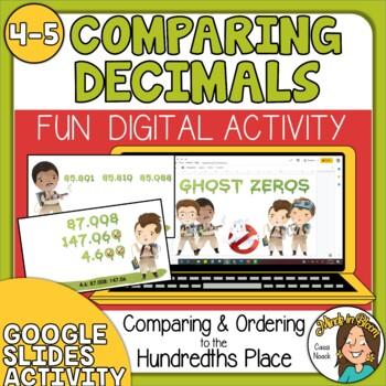 Comparing and Ordering Decimals to the hundredths Digital Google Slides Activity Image
