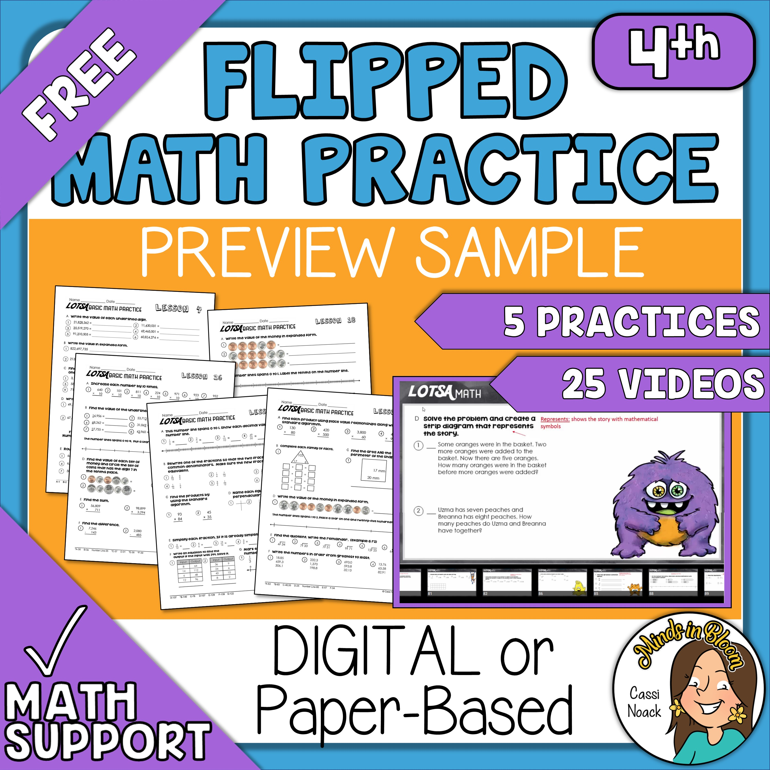 5 FREE Spiraled Practice Worksheets and Video Tutorials Distance Learning 4th Image