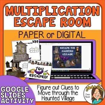Halloween Escape Room Double Digit Multiplication Digital or Paper Image