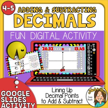 Adding and Subtracting Decimals Self-Checking Google Slides Digital Activity Image