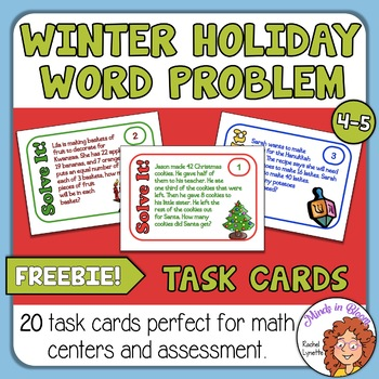 Math Word Problem Task Cards for Christmas, Hanukkah, and Kwanzaa! FREE Image