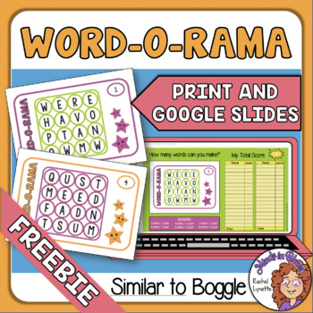 Similar to Boggle Word-0-Rama Task Card and Google Slide Freebie Image