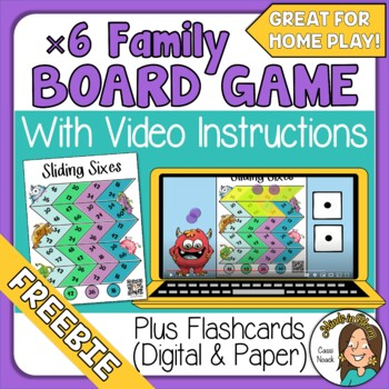 FREE Multiplication Board Game & Video Directions x6 Great for at home play! Image